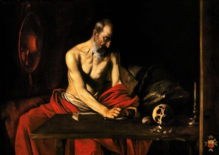 Caravaggio, Michelangelo Merisi da: Saint Jerome Writing. Fine Art Print/Poster. Sizes: A4/A3/A2/A1 (002067)